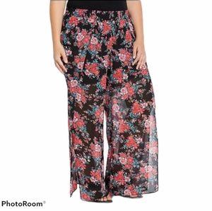 Torrid Floral Chiffon Side Slit Pants